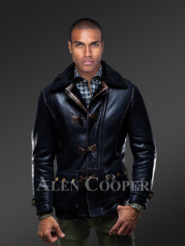 Men's iconic incredibly warm and stylish mid-length shearling winter coat new