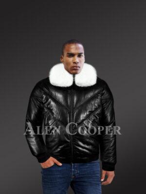 Men's iconic premium lamb skin black v-bomber jacket with detachable white fur collar new