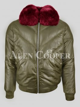 Men's iconic pure leather olive v bomber jacket with wine crystal fur collar