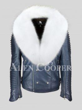 Men's iconic sheepskin super warm navy biker jacket with snow white wide fox fur collar