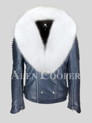 Men's iconic sheepskin super warm navy biker jacket with snow white wide fox fur collar