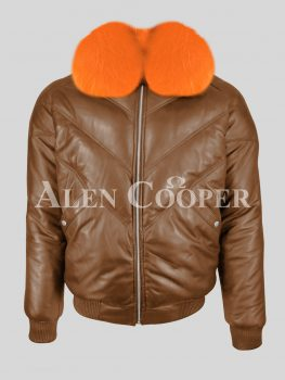 Men's iconic tan v bomber real leather jacket with bright orange crystal fur collar new