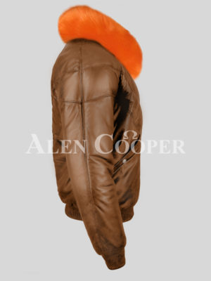 Men's iconic tan v bomber real leather jacket with bright orange crystal fur collar new side view New