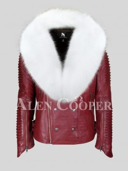 Men's ideal mid-length real leather biker jacket with white fox fur collar