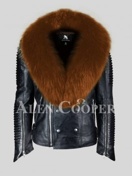Men's incredibly warm and stylish real leather black biker jacket with tan fox fur collar