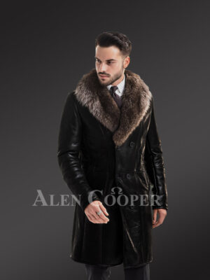 Men's long and solid coal black natural fur lamb coat with rich raccoon fur collar new view