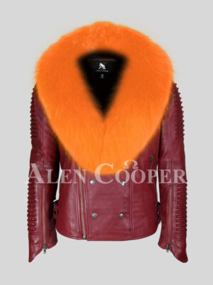 Men's mid-length wine leather jacket with bright orange fox fur collar