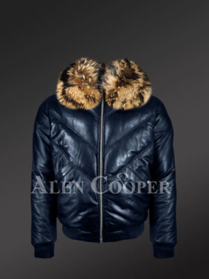 Men's navy real leather v bomber winter jacket with real raccoon fur collar new