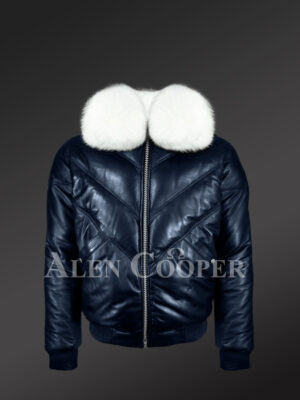 Men's navy real leather vintage v bomber jacket with snow white real fox fur collar new