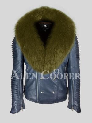 Men's navy solid leather warm winter biker jacket with olive fox fur collar