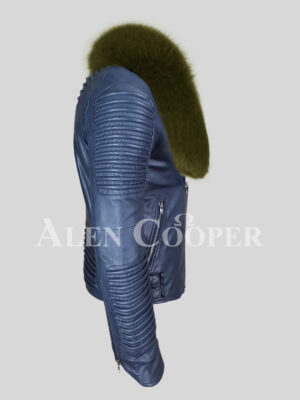 Men's navy solid leather warm winter biker jacket with olive fox fur collar side view