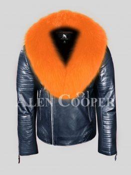 Men's navy winter leather biker jacket with comfy orange fox fur collar