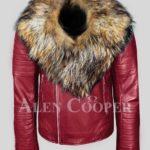 Men's pure leather winter wine biker jacket with real raccoon fur collar