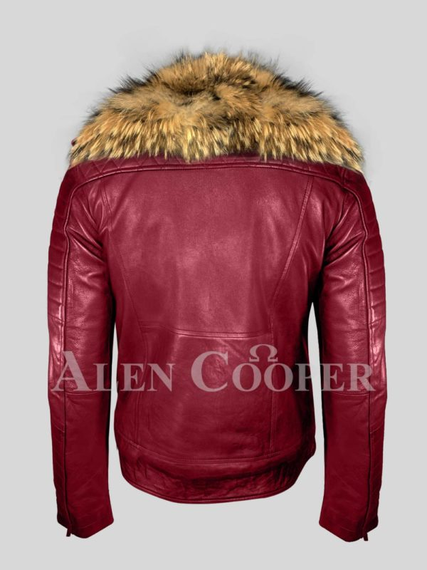 Men's pure leather winter wine biker jacket with real raccoon fur collar BACK SIDE VIEW