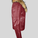 Men's pure leather winter wine biker jacket with real raccoon fur collar SIDE VIEW