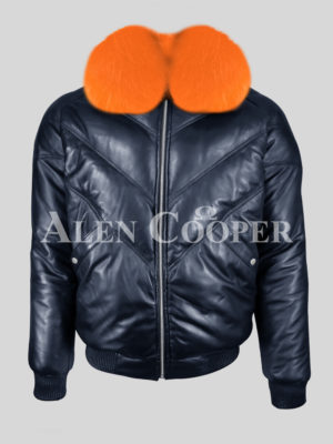 Men's real leather navy v bomber winter jacket with orange real fur collar new