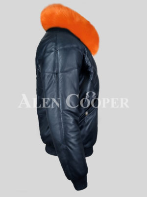 Men's real leather navy v bomber winter jacket with orange real fur collar new side view
