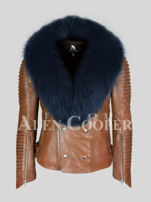 Men's real leather tan jacket with stylish navy fox fur collar