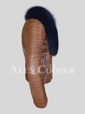Men's real leather tan jacket with stylish navy fox fur collar side view
