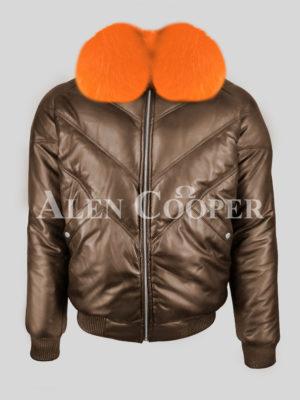 Men's real leather vintage v bomber jacket with bright orange fur collar