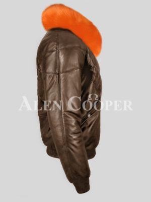 Men's real leather vintage v bomber jacket with bright orange fur collar side view
