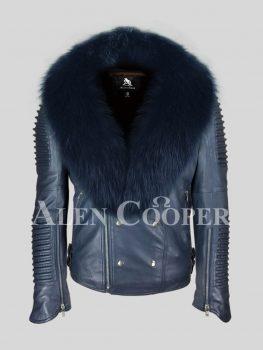 Men's solid navy real leather winter biker jacket with navy fox fur collar