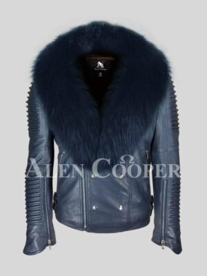 Men's solid navy real leather winter biker jacket with navy fox fur collar