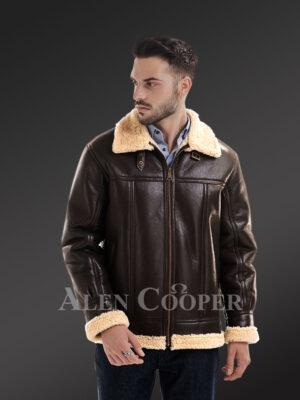 Men's solid stylish mid length sheepskin coat with merino fur inner lining new view