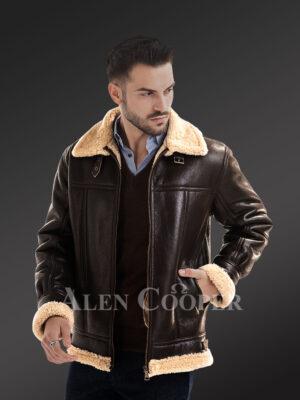 Men's solid stylish mid length sheepskin coat with merino fur inner lining new views
