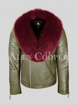Men's stunning olive real leather biker jacket with wine fox fur collar
