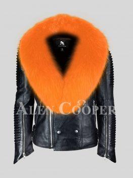 Men's sturdy and stylish real leather black biker jacket with orange fox fur collar