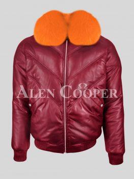 Men's sturdy and stylish wine v bomber leather jacket with orange crystal fox fur collar New
