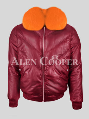 Men's sturdy and stylish wine v bomber leather jacket with orange crystal fox fur collar New