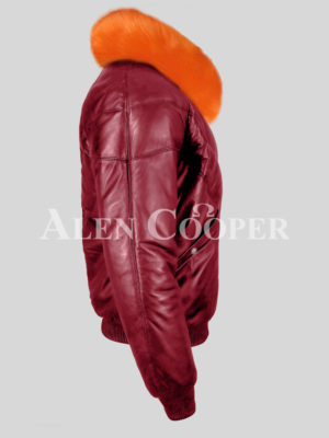 Men's sturdy and stylish wine v bomber leather jacket with orange crystal fox fur collar New side view