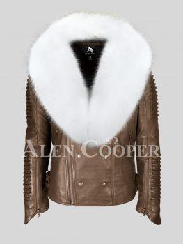 Men's stylish coffee leather biker jacket with snow white fox fur collar