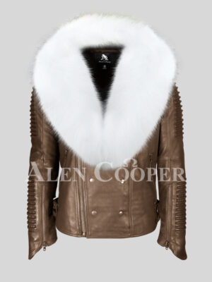 Men's stylish coffee leather biker jacket with snow white fox fur collar