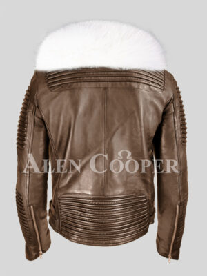 Men's stylish coffee leather biker jacket with snow white fox fur collar back side view