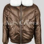 Men's stylish coffee real leather v bomber jacket with white real fur collar new side