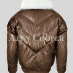 Men's stylish coffee real leather v bomber jacket with white real fur collar new back