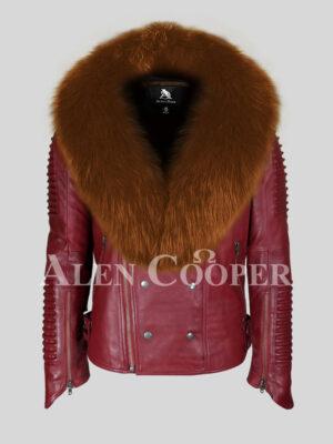 Men's stylish mid-length wine biker jacket with tan fox fur collar