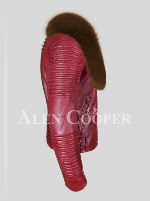 Men's stylish mid-length wine biker jacket with tan fox fur collar side view