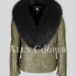 Men's stylish rich olive real lamb skin biker jacket with wide black fur collar