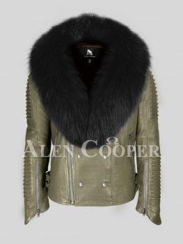 Men's stylish rich olive real lamb skin biker jacket with wide black fur collar