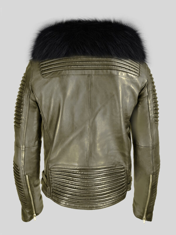 Men's stylish rich olive real lamb skin biker jacket with wide black fur collar baxk side view
