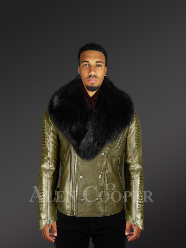 Men's stylish rich olive real lamb skin biker jacket with wide black fur collar new with model