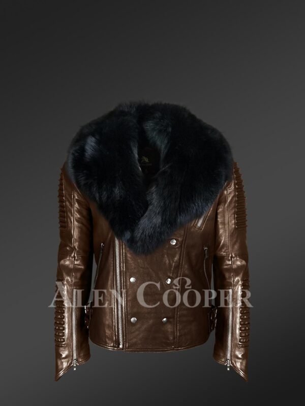Men's super smooth and warm real leather winter biker jacket with black fox fur collar New