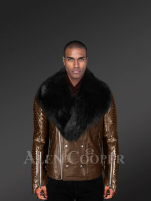 Men's super smooth and warm real leather winter biker jacket with black fox fur collar New with model
