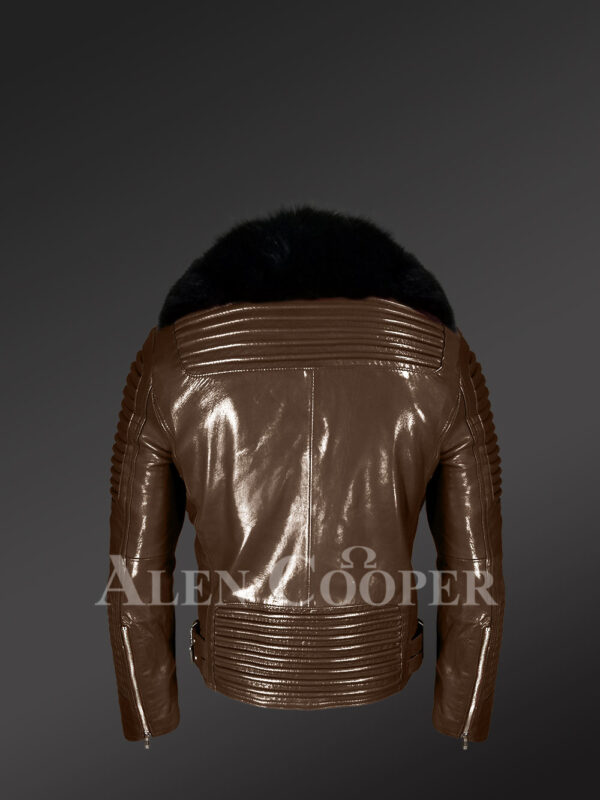 Men's super smooth and warm real leather winter biker jacket with black fox fur collar back side view