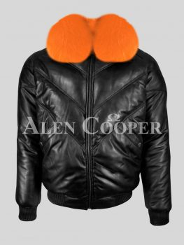 Men's super stylish and classy real black v bomber with orange detachable fur collar new