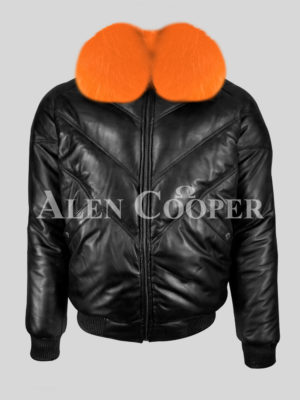 Men's super stylish and classy real black v bomber with orange detachable fur collar new